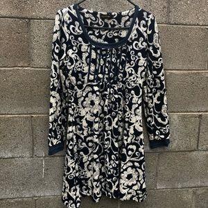 Reborn Long Sleeve Dark Blue Floral Dress SZ S